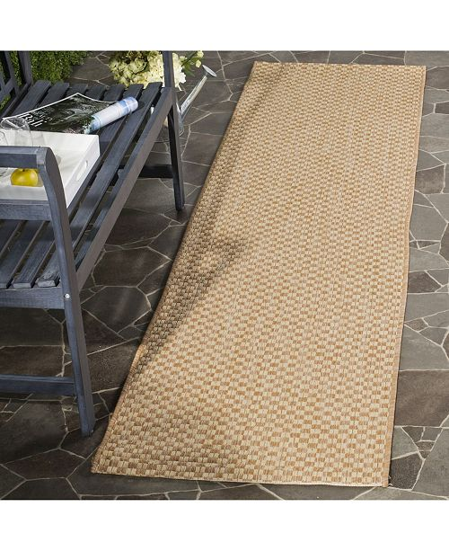 "Safavieh Courtyard Natural and Cream 2'3"" x 12' Sisal Weave Runner Area Rug"