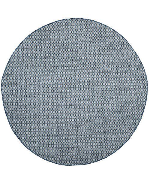 "Safavieh Courtyard Blue and Light Gray 6'7"" x 6'7"" Sisal Weave Round Area Rug"