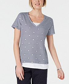Petite Micro-Stripes & Stars T-Shirt, Created for Macy's