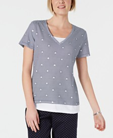 Karen Scott Petite Micro-Stripes & Stars T-Shirt, Created for Macy's