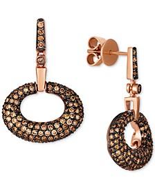 Chocolatier® Diamond Drop Hoop Earrings (1-1/2 ct. t.w.) in 14k Rose Gold