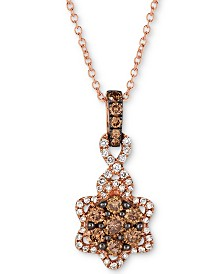 "Le Vian Chocolatier® Diamond Flower 18"" Pendant Necklace (1/2 ct. t.w.) in 14k Rose Gold"