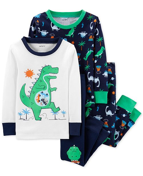 Carter's Baby Boys 4-Pc. Dino-Print Cotton Pajamas Set