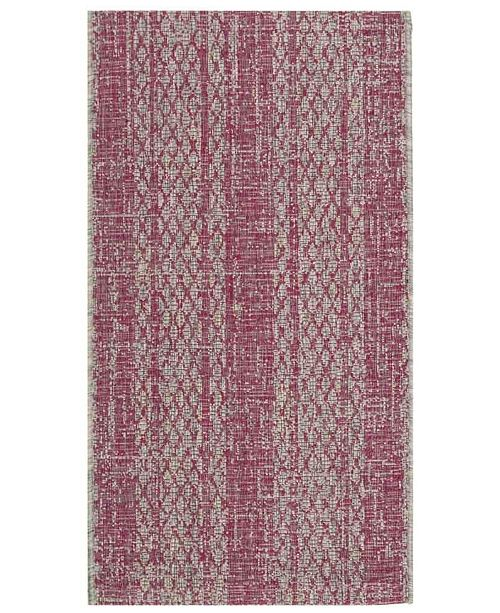 "Safavieh Courtyard Light Gray and Fuchsia 2' x 3'7"" Sisal Weave Area Rug"