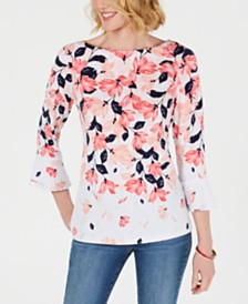 Charter Club Petite Floral-Print Ruffle-Sleeve Top, Created for Macy's