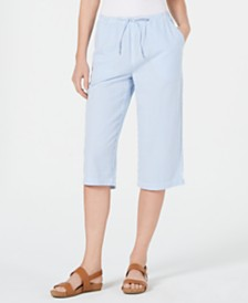 Karen Scott Petite Cotton Seersucker Capri Pants, Created for Macy's