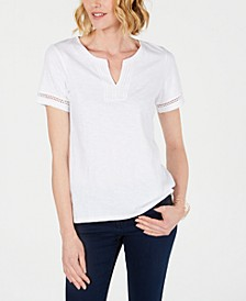Split-Neck Cotton Top, Created for Macy's