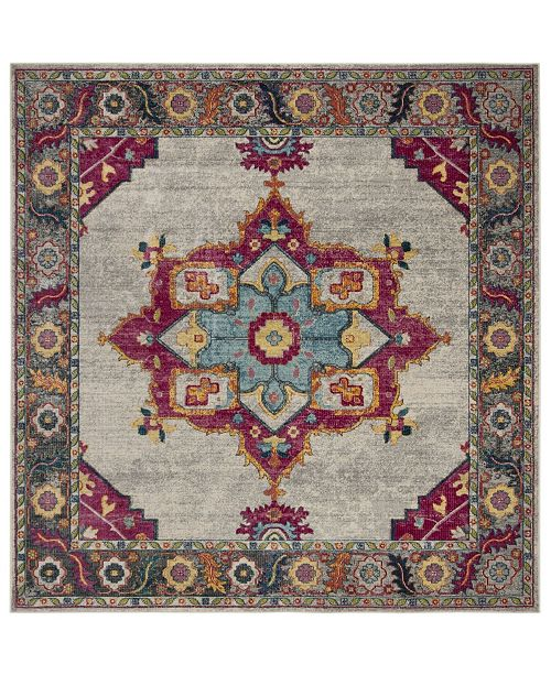 "Safavieh Merlot Cream and Multi 6'7"" x 6'7"" Square Area Rug"
