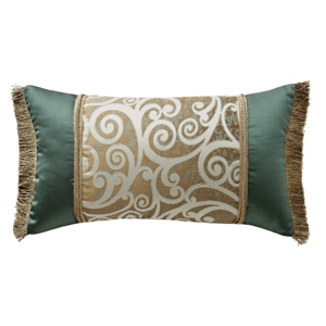 """Waterford Anora 11"""" X 20"""" Breakfast Collection Decorative Pillow Bedding In Brass/jade"""