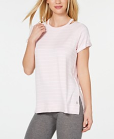 Calvin Klein Performance Striped Cuffed High-Low Hem T-Shirt