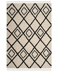 "Moroccan Fringe Shag Cream and Charcoal 6'7"" X 9'6"" Area Rug"