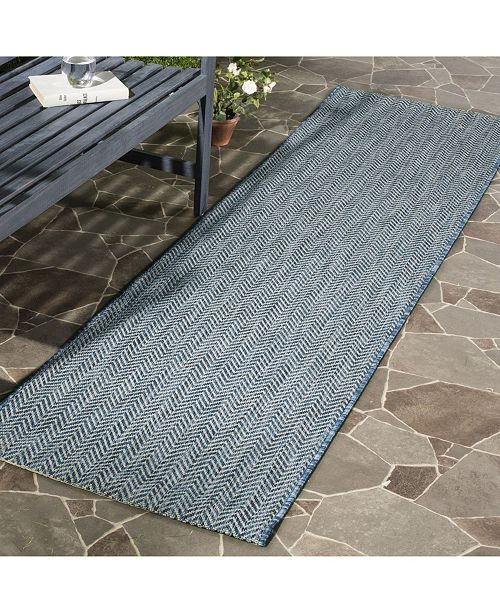 "Safavieh Courtyard Navy and Grey 2'3"" x 10' Sisal Weave Runner Area Rug"