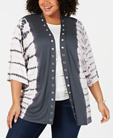 Belldini Plus Size Grommet-Trim Tie-Dyed Cardigan