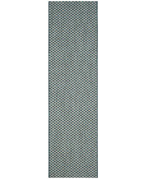"Safavieh Courtyard Turquoise and Light Grey 2'3"" x 6'7"" Sisal Weave Runner Area Rug"
