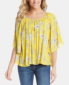 Karen Kane Printed Flare-Sleeve Swing Top