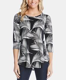 Karen Kane Palm-Print Shirttail-Hem Top