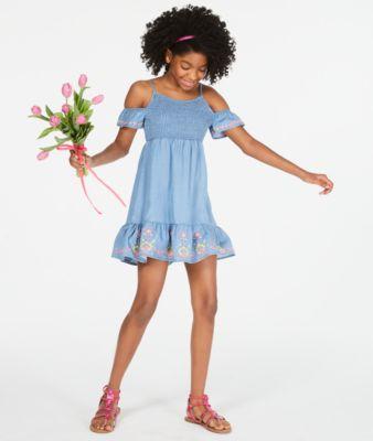 Big Girls Smocked Cold Shoulder Dress, Created for Macy's