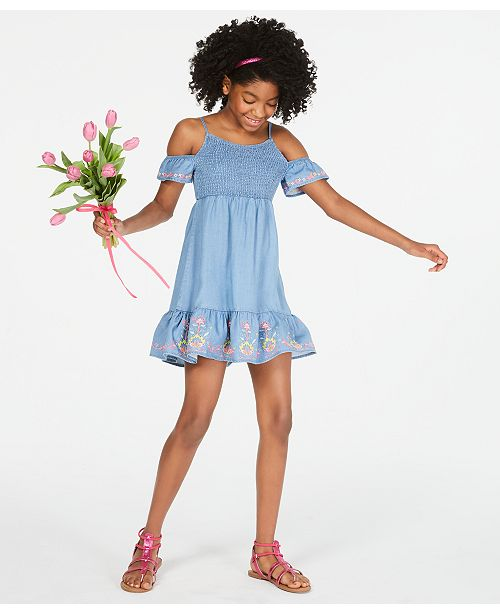 Epic Threads Big Girls Smocked Cold Shoulder Dress, Created for Macy's