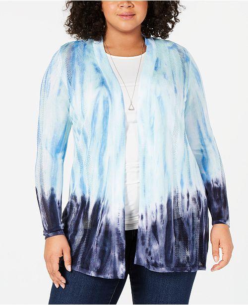 Belldini Plus Size Ombré Open-Front Cardigan