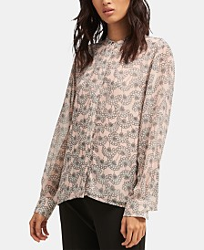 DKNY Printed Button-Front Top