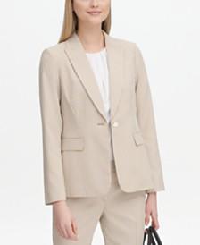 Calvin Klein Single-Button Seersucker Blazer