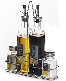 4 Piece Condiment Set with Wire Caddy