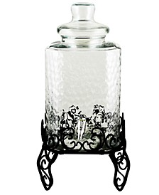 3 Piece 2.25 Gallon Square Embossed Glass Beverage Dispenser with Wire Stand