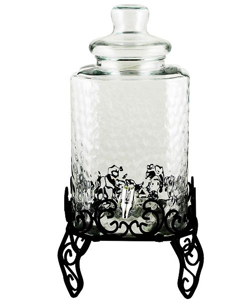 Moreauville 3 Piece 2.25 Gallon Square Embossed Glass Beverage Dispenser with Wire Stand