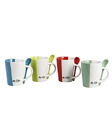 Mr. Coffee Cafeacute Roma 8 Piece 14 Ounce Mugs with Matching Spoons Set