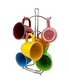 7 Piece Mug Set with Metal Rack