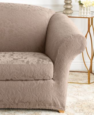 Stretch Jacquard Damask 2-Piece Loveseat Slipcover