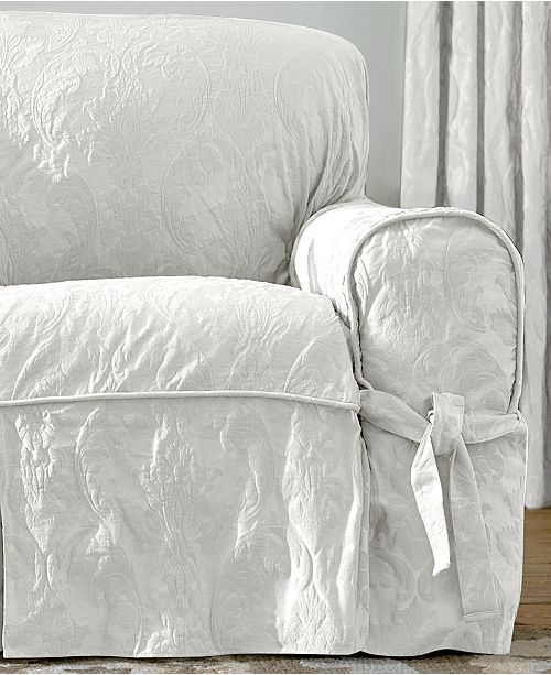 Matele Damask 1 Piece Sofa Slipcover