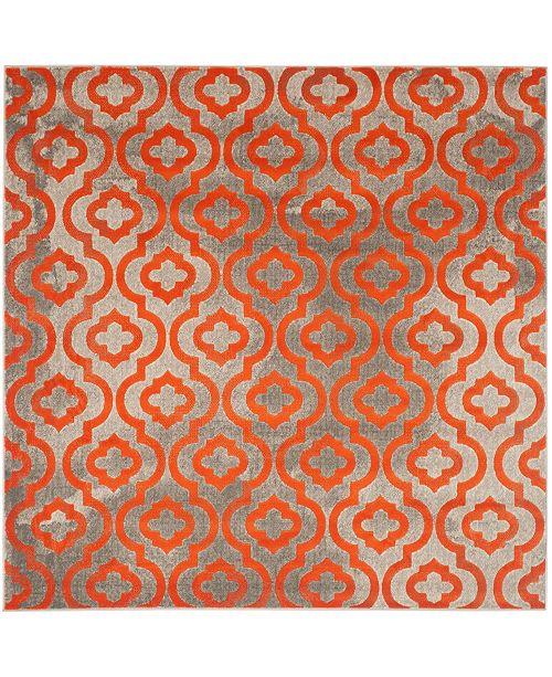 "Safavieh Porcello Light Gray and Orange 6'7"" x 6'7"" Square Area Rug"