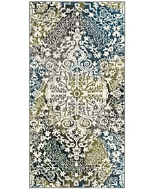 "Watercolor Ivory and Peacock Blue 2'7"" x 5' Area Rug"