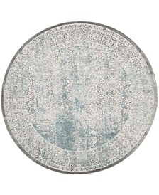 """Passion Turquoise and Ivory 5'1"""" x 5'1"""" Round Area Rug"""