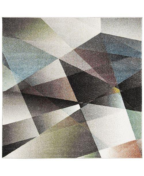 """Safavieh Porcello Gray and Multi 6'7"""" x 6'7"""" Square Area Rug"""