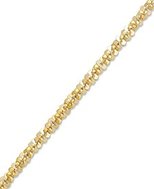 14k Gold Ankle Bracelet, Faceted Chain Anklet (1-1/2mm)