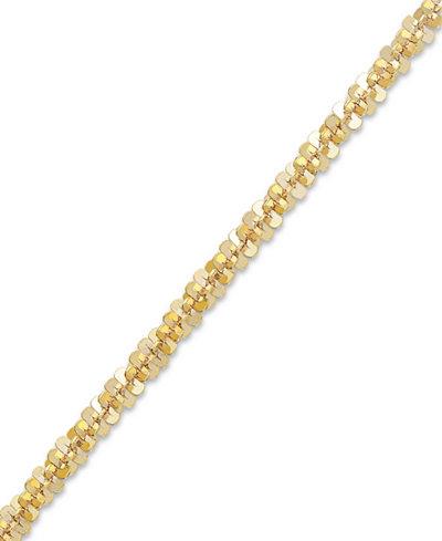 14k Gold Anklet, Faceted Chain Anklet
