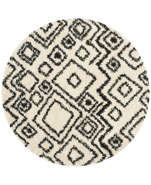 "Safavieh Belize Ivory and Charcoal 6'7"" x 6'7"" Round Area Rug"