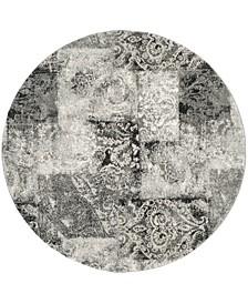 Retro Cream and Gray 6' x 6' Round Area Rug