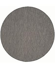"""Safavieh Courtyard Black and Beige 6'7"""" x 6'7"""" Round Area Rug"""
