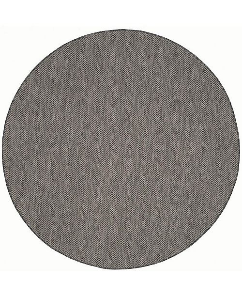 "Safavieh Courtyard Black and Beige 6'7"" x 6'7"" Round Area Rug"