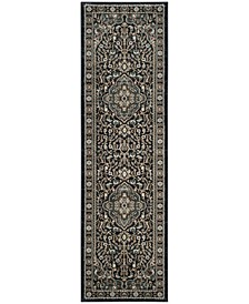 """Lyndhurst Anthracite and Teal 2'3"""" x 8' Runner Area Rug"""