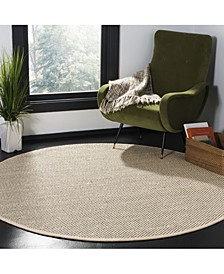 Natural Fiber Black and Ivory 6' x 6' Sisal Weave Round Area Rug