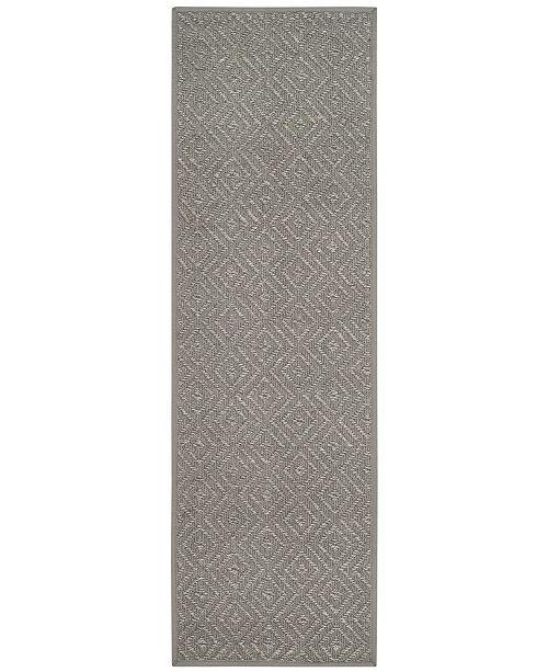 "Safavieh Natural Fiber Light Grey and Grey 2'6"" x 8' Sisal Weave Runner Area Rug"