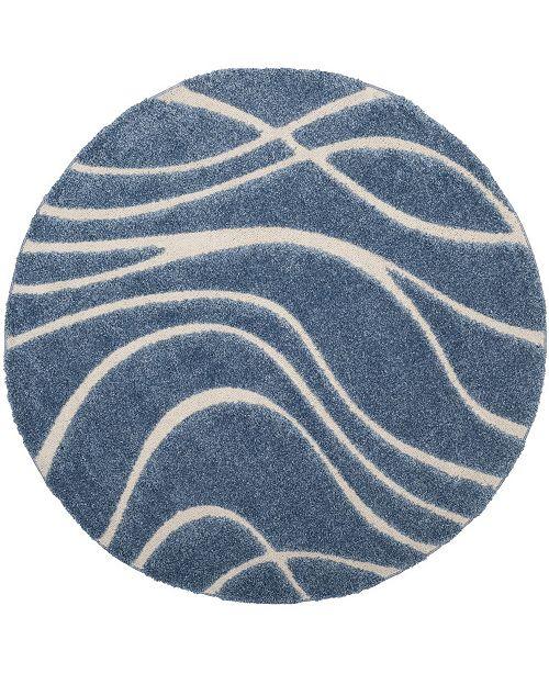 "Safavieh Shag Light Blue and Cream 6'7"" x 6'7"" Round Area Rug"