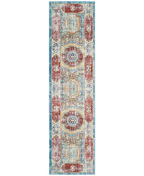 "Safavieh Valencia Blue and Multi 2'3"" x 8' Runner Area Rug"