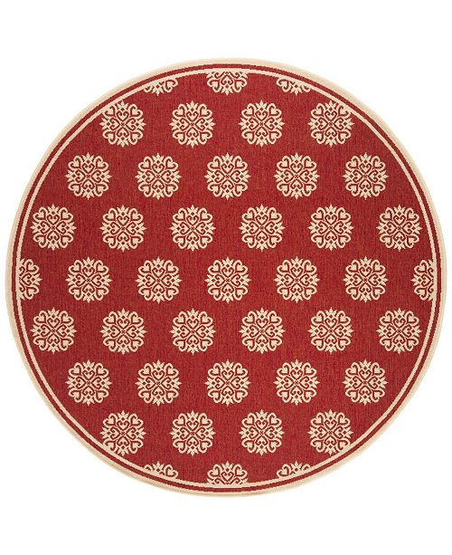"Safavieh Linden Red and Creme 6'7"" x 6'7"" Round Area Rug"