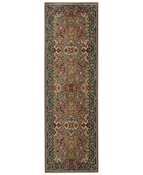 "Safavieh Kashan Taupe and Blue 2'6"" x 8' Sisal Weave Runner Area Rug"