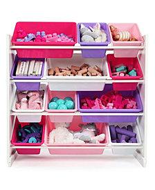 Kids Wood Toy Organizer with 12 Plastic Bins
